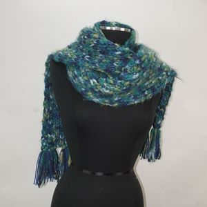 Large Cable Knit Scarf Multi Blues